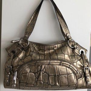 Large gold leather bag